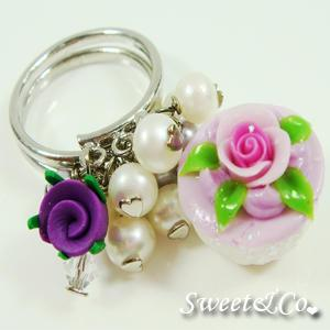 Sweet Mini Purple Glitter Cupcake Floral Ring