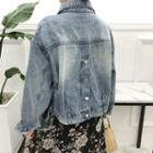 Washed Buttoned Denim Jacket Blue - One Size