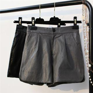 Faux-leather Loose-fit Shorts