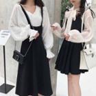 Sleeveless Pleated A-line Skirt