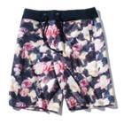 Couple Matching Floral Print Drawstring Shorts