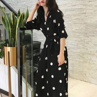 Elbow-sleeve Dotted Midi A-line Wrap Dress