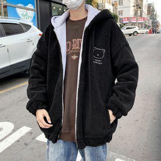 Embroidered Fleece Hooded Jacket
