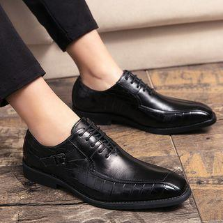 Square-toe Belted Faux-leather Dress Shoes