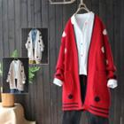 Dotted Open Front Long Cardigan