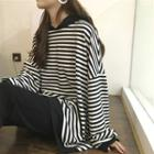Striped Loose-fit Batwing-sleeve Hooded Pullover