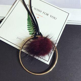 Furry Ball Long Necklace
