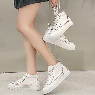 Fleece-lined Contrast Trim High-top Sneakers
