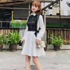 Set: Plain A-line Dress + Sleeveless Lace Top