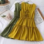 Ruffled-trim Ribbon Tank Dress