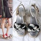 Genuine-leather Woven Platform Sandals