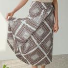 Patterned Surplice-wrap Midi Skirt
