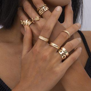 Set Of 10: Alloy Ring (various Designs) 0451 - Gold - One Size