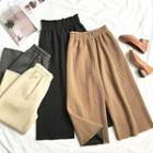 Plain Cable-knit Cropped Wide-leg Pants