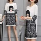 Lace Panel 3/4-sleeve Shift Dress