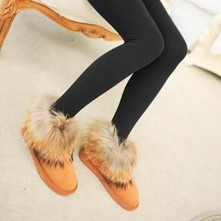 Brushed-fleece Leggings / Brushed-fleece Stirrup Leggings (2 Designs)