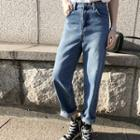 Roll-up Hem Washed Baggy-fit Jeans
