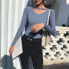 Cut-out Front Knit Top