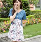 Short-sleeve Floral Panel Dress