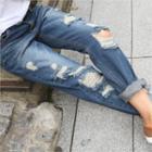 Cuff-hem Distressed Jeans
