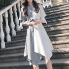 Color Block Elbow-sleeve Midi A-line Shirt Dress