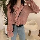 Floral Print Frill-trim Blouse Red - One Size