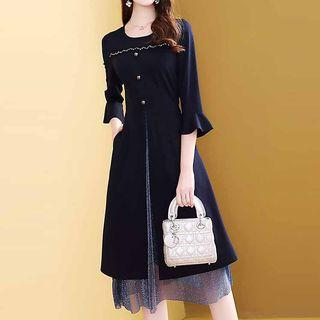 Mock Two-piece Flared-sleeve Midi A-line Dress