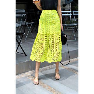 Ruffle-hem Laced Midi Skirt