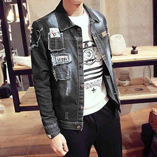 Applique Distressed Denim Jacket