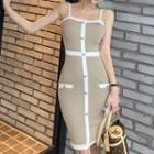 Spaghetti-strap Contrast-lining Midi Bodycon Knit Dress As Shown In Figure - One Size