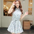 Sleeveless Flower-print Dress
