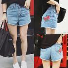 Embroidered Fray Denim Shorts
