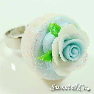Sweet Blue Glitter Cupcake Floral Ring