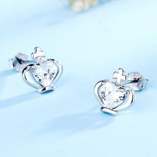 925 Sterling Silver Rhinestone Crown Earring 1 Pair - 925 Silver - White - One Size