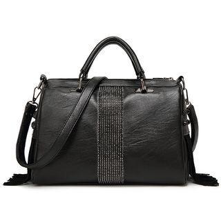 Rhinestone Boston Bag Black - One Size