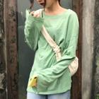 Long-sleeve T-shirt/ Midi Pleated Skirt
