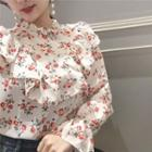 Floral Print Frilled Long-sleeve Top