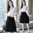 Set: Contrast Trim Short-sleeve Top + High Waist A-line Dress