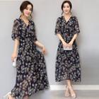 Floral Print Elbow Sleeve Chiffon Midi Dress