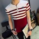 Short-sleeve Striped Henley