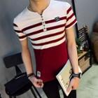 Short-sleeve Striped Henley