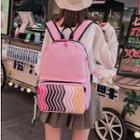 Color Strap Patterned Backpack