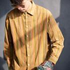 Pinstripe Corduroy Long-sleeve Shirt