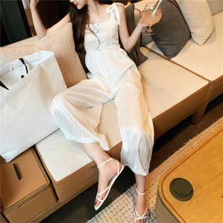 Sleeveless Straight-cut Jumpsuit White - One Size
