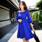 3/4-sleeve Smocked Dress