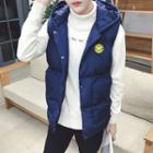 Smiley Applique Hooded Padded Vest