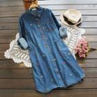 Long-sleeve Embroidery Shirtdress