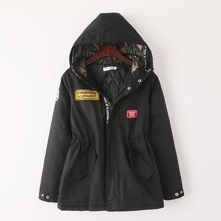 Hooded Applique Padded Coat