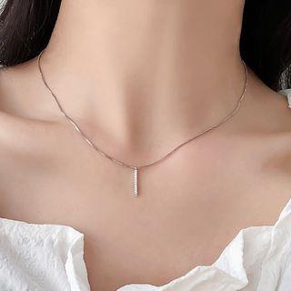 Rhinestone Bar Pendant Necklace Necklace - One Size
