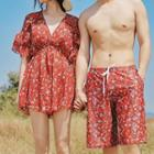 Couple Matching Floral Bikini / Floral Cover-up / Swim Shorts / Set